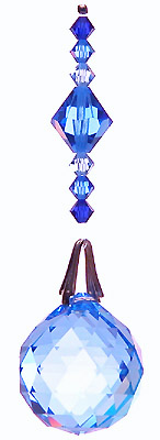 Ball 20mm Blue-AB with Several Beautiful Shades of Blue Beads on Hanger.