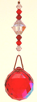 Ball 20mm Red-AB with Two Shades of Red and Crystal AB Beads on Hanger. Striking!