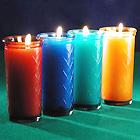Enjoy a Rainbow of 50 Hour Colored Glass Container Candles!