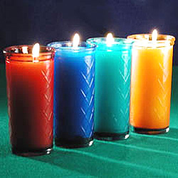 Make a Candle Rainbow With These Unscented 50 Hour Colored Glass Container Candles!