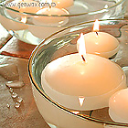 Large Three Inch Round Floating Disc Candles in White or Ivory! Lovely! Unscented.