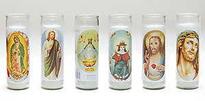 Commemorative Saint Container Candles for Remembrance.