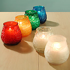 Mini Victorian Candles in Rainbow Colored Glass Containers!