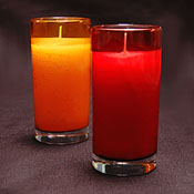 White Unscented Candle in Sparkling Ruby or Amber glass container Burns 72 Hours.