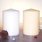 Elegant Fireside Solid Pillar Candles 4 by 6 Inches. Unscented, White or Ivory.