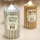 Gleaming Gold or Silver Metallic Dripless Unscented Pillar Candles!