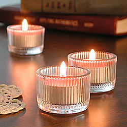 Elegant Glass Tealight Holders with Spice Scented Tea Light Candles. Lovely!