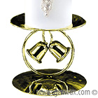 Two Golden Wedding Bells Adorn This Shining Pillar Candle Holder! Wedding or Golden Anniversary!