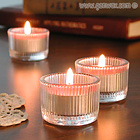 Ribbed Glass Tealight Candle Holder.