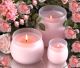 Pink Rosebuds and Candles