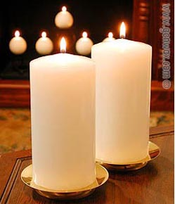 Fireside Collection Pillar Candle. Simple white or ivory unscented classic design for Everyday use.
