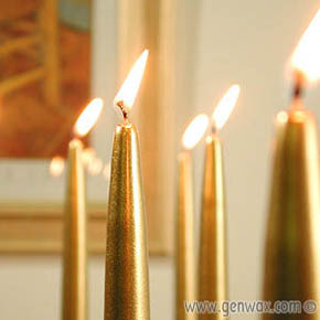 Lovely Fifteen Inch Gold or Silver Metallic Taper Candles! Beautiful Elegant Metallic Finish!