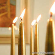 Lovely Fifteen Inch Golden or Silver Metallic Taper Candles! Add a Touch of Elegance!