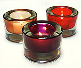 Lovely Large Tealight Holders of Colored Thick Transparent Glass. Yum!