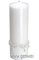Beaded Teardrop Wedding Pillar Column White Candle!