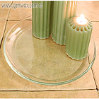 Pillar Candle Lovely Glass Holder Dish. Attractive & Contains Spills!