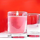 Simple Clear Straight-Sided 3 Ounce Glass Votive Holder. Scented Pink Candle!