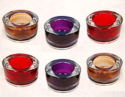 Beautiful Thick Colored Glass Small Tealight Candle Holders!