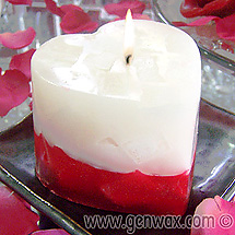 Rose Scented Red & White Beautiful Heart Shaped Chunk Candle.