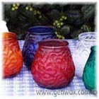 Victorian Unscented Candles in Rainbow Color Glass Containers. Festive for Dining Indoors or Out! Porch, Patio, or Picnic Table!