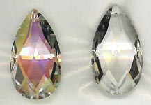 Fancy Pear Crystal, Clear and Aurora Borealis Gold