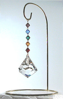 Beautiful Crystal Bell 50mm Decorated with a Rainbow of Crystal Beads on its Own Attractive Hanger!