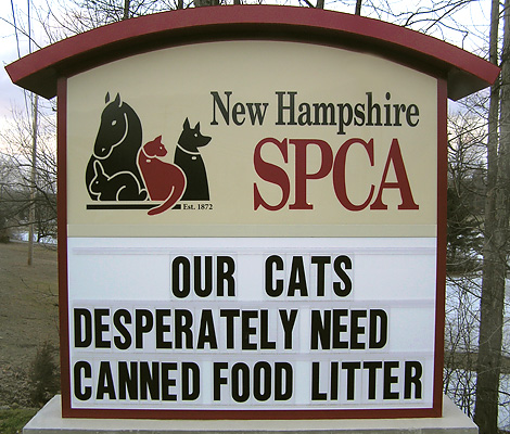 NH SPCA is a no kill animal shelter. Your help is appreciated.