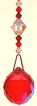 Ball Red-AB with Two Shades of Red and Crystal AB Beads on Hanger. Striking!
