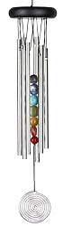 Chakra Seven Stones Chime with Colorful Genuine Stones 17 Inch Length..