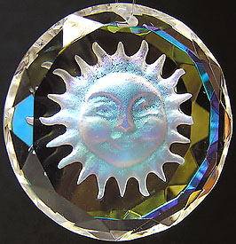 Crystal Sun Coin with Faceted Edges, Carved Frosted Sun Face, and Gold AB