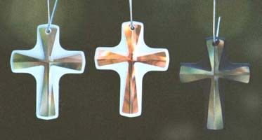 Frosted Crystal Cross in Clear, AB, and Jet.