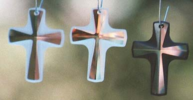 Frosted Crystal Cross in Clear, AB, and Jet Black CosmoJet.
