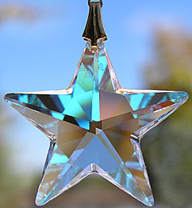 Sparkly Crystal Star (AB) With a Hanger of Rainbow of Beads!