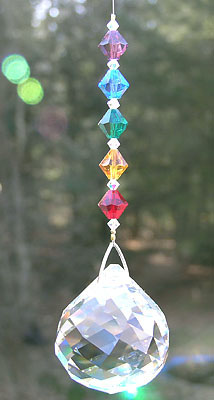 Sparkling Crystal Swirl Ball With a Hanger of Rainbow Beads
