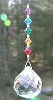 Ball- Swirl Ball 40mm CLEARWith Rainbow Beads