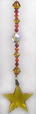 Dainty Dangle- Sunset StarDark Topaz 28mm Star with Gold , Orange and Red Beads DISABLED