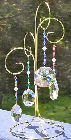 Beaded Crystal Splendor Collection on Four Arm Ornament Display Stand