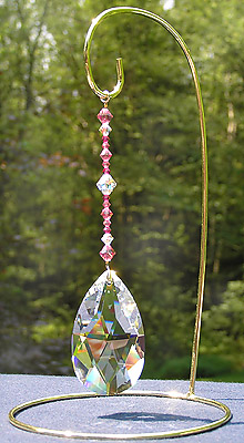Fancy Pear 63mm Crystal With Enchantment Beaded Hanger of Rose, Fuchsia, and AB Sparkling Beads! Total Length is 6 Inches. Shown on Med Size Brass Ornament Stand, 8.5 Inches High