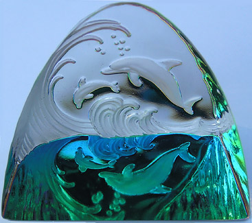 Double Diving Dolphins Crystal Figurine. 65mm with Amazing Iridis Colors!