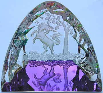 Beautiful Unicorn Dancing In An Enchanted Crystal Forest.