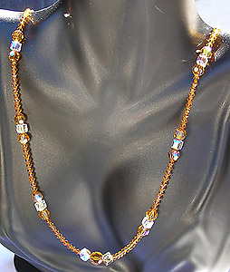 Beautiful Long Dangling Topaz Crystal Bead Necklace