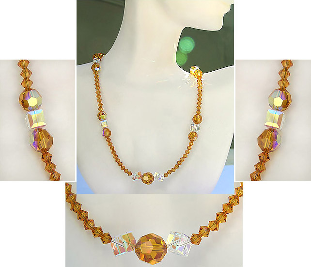 Beautiful High Fashion Crystal Bead Necklace Detail