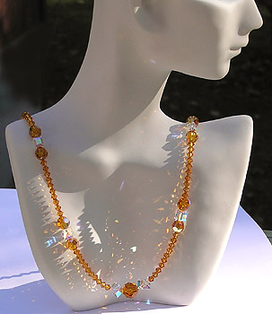 Beautiful High Fashion Crystal Bead Necklace Sparkling and Making Rainbows in Sun
