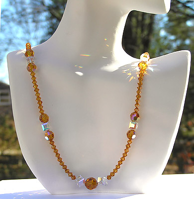 Gorgeous Sparkling High Fashion Crystal Bead Necklace in Honey Golden Topaz