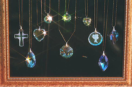 Sparkling Swarovski Crystal Pendants on Gold Filled Necklace Chains