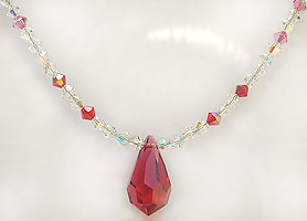 Gorgeous Jeweled Crystal Droplet Necklace 17 Inches in Length.