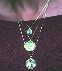Swarovski Crystal Pendants Showing Three Lengths of Necklaces