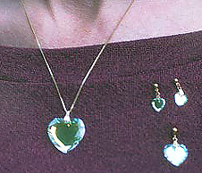 Beveled Heart 28ab Pendant, 20 Inch Chain. One 18ab & Two 10ab Earrings for Size.