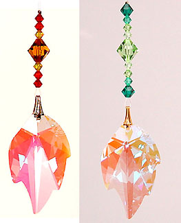 Crystal Leaf with Spring or Autumn Beads