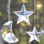 Swarovski Crescent Moon Crystal 50mm With Crystal Star 50mm and Crystal Star 40mm
